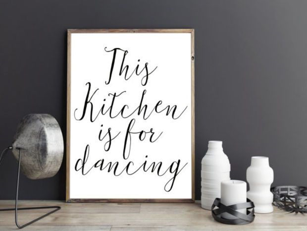 PRINTABLE QUOTE,This Kitchen Is For Dancing,Kitchen Decor,Kitchen Wall Art,Kitchen Sign,Funny Print,Quote Prints,Black And White,Quote Art