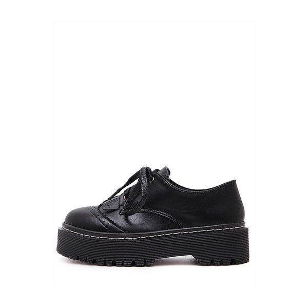 SheIn(sheinside) Lace-up Tasseled Chunky Platform Oxford Wedges (145 MYR) ❤ liked on Polyvore featuring shoes, oxfords, black, platform shoes, vegan oxford, black lace up oxfords, chunky platform shoes and black shoes