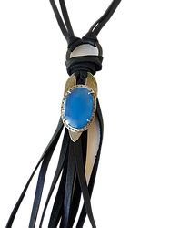 Leather Tassel Necklace with ID Tag & Chalcedony