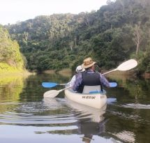 Kleinemonde West River Canoe Trail - This trail is a canoeing/hiking combination on the Kleinemonde West River. Experience the beauty of the river while paddling 8 km and hiking 3 km through Nyala Valley Game Reserve, to 'Lily Pad' hut.  A birder's paradise – fisheagles, loeries, spoonbills, kingfishers and herons. On entering the game reserve look for giraffe, zebra, wildebeest, various buck and warthog.