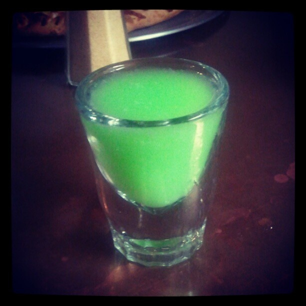 Scooby Doo Snack (made with malibu rum, midori, and pineapple juice)— at Ed's Crossroads Pizza & Subs. #drinks #cocktails #drinkrecipes
