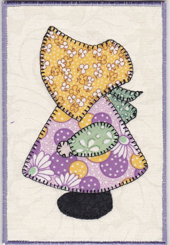 Sunbonnet Sue Fabric Postcard by zizzybob on Etsy, $7.00