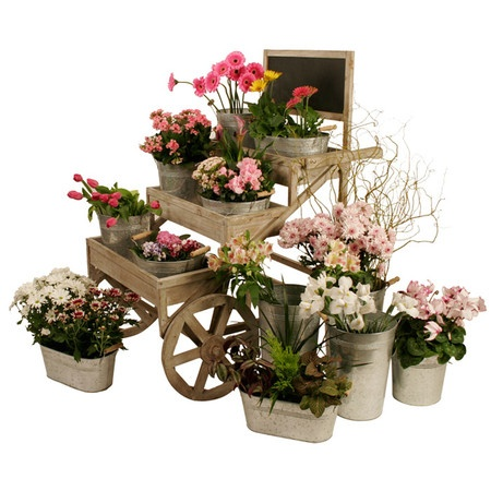 Farmhouse Inspired Wood Garden Cart With Wheels And Three Shelves. Includes  A Top Chalkboard Panel.