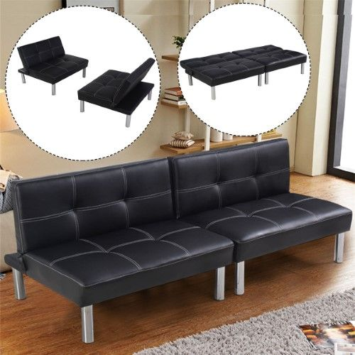 Costway Folding PU Leather Futon Convertible Sofa Sleeper Bed Living Room Black | Jet.com