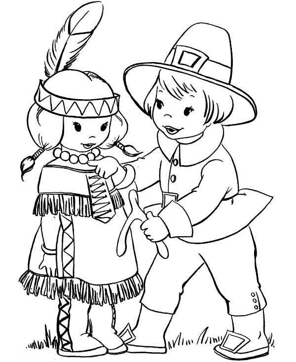 Pilgrim Boy Giving Thanksgiving Day Wishbone To Little Indian Girl Coloring Page