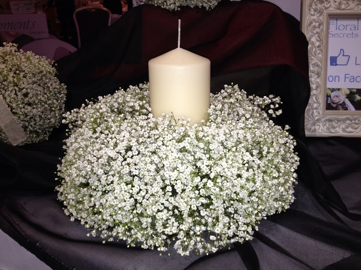 Gypsophila table centre with church candle
