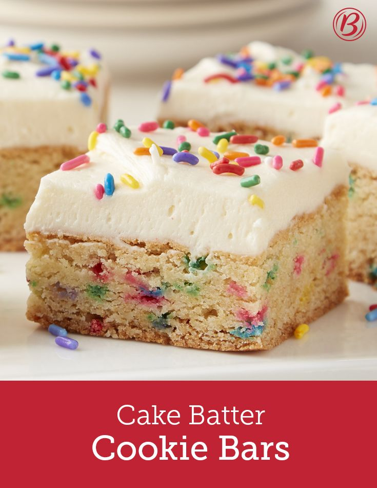 Soft, sweet and oh-so-easy to make with Betty's cake and cookie mixes, these clever cookie bars deliver irresistible cake batter flavor with a soft cookie-like texture. With a scratch frosting that you wont be able to get enough of, and a festive look that's cute for birthdays, kids or just a midweek pick-me-up, you'll want to make this recipe again and again.