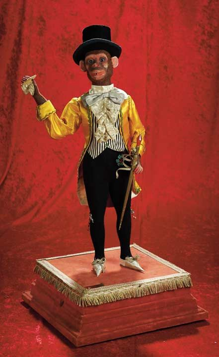 """Contemporary French Musical Automaton """"The Dapper Monkey Smoker"""" circa 1890. http://Theriaults.com"""