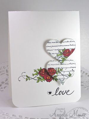 handmade Valentine from the tool shed: Love is in the air... clean and simple ... challenge to use markers ,,. WOW! ... sweet image of roses and tendrils stamped on card face  and off-the edge on two die cut hearts ..,. hearts also have stamped background script lines that help the hearts to stand out from the background ... the delightful part is that one of the hears sits exactly above the image to  make it look like it was cut out of the page ... great card from Angela ...