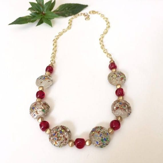 Colorful Bead Necklace Chunky Bead Necklace Bold Statement