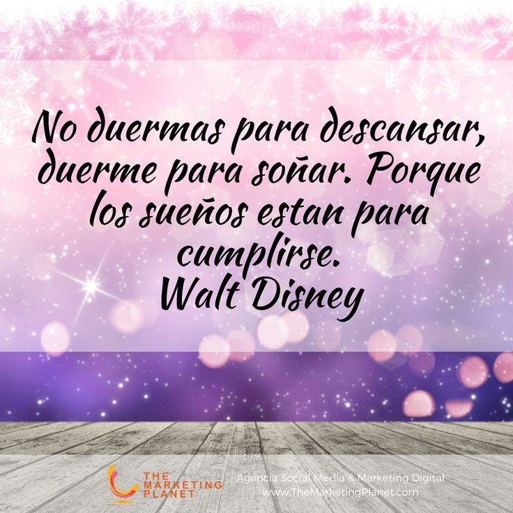 No duermas para descansar, duerme para soñar. Porque los sueños estan para cumplirse.  Walt Disney