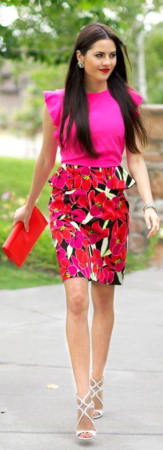 Kate Spade New-york Multi Coloured Tropical Floral Print Peplum Sheath Dress by Pink Peonies