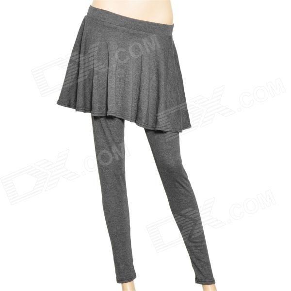 Mulher é um tipo de algodão Casual completa justas Comprimento Legging Calças Saia - Cinza