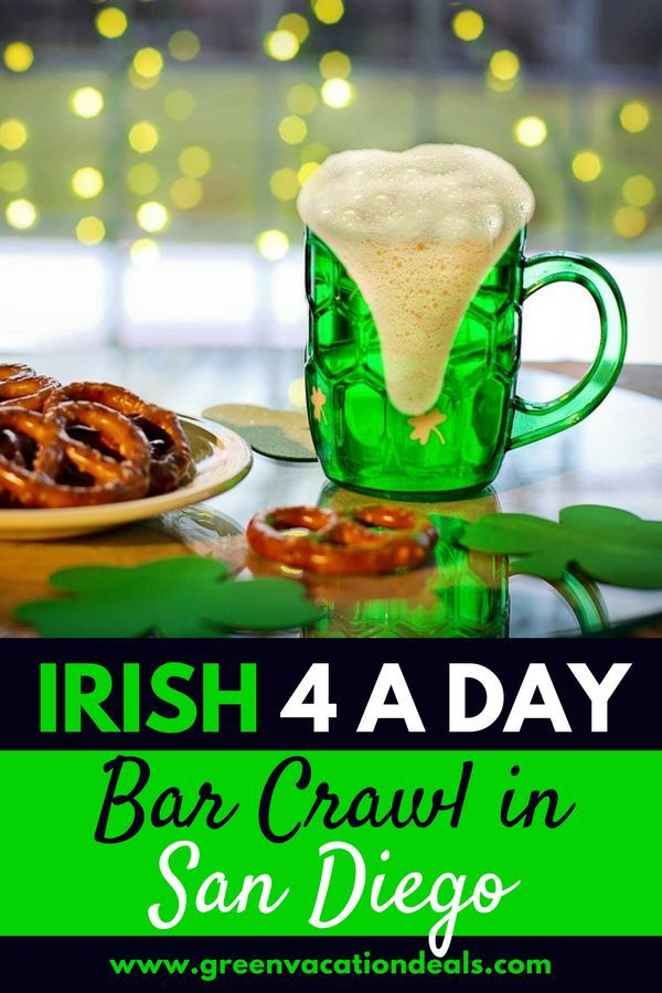 """San Diego St Patrick's Day Activities - if you're looking for things to do in San Diego for St. Patricks Day, celebrate in the Gaslamp Quarter with """"Irish 4 A Day"""". Find out why you won't want to miss this fun 2 day bar crawl - and how you can save money on it! #Irish4aDay #SanDiego #Gaslamp #gaslampquarter #gaslampdistrict #StPatricksDay #Bar #Nightclub #bars #Barcrawl #Barhopping #Barhop #Restaurants #SoCal #California #SouthernCalifornia #drinks #drink #drinking"""