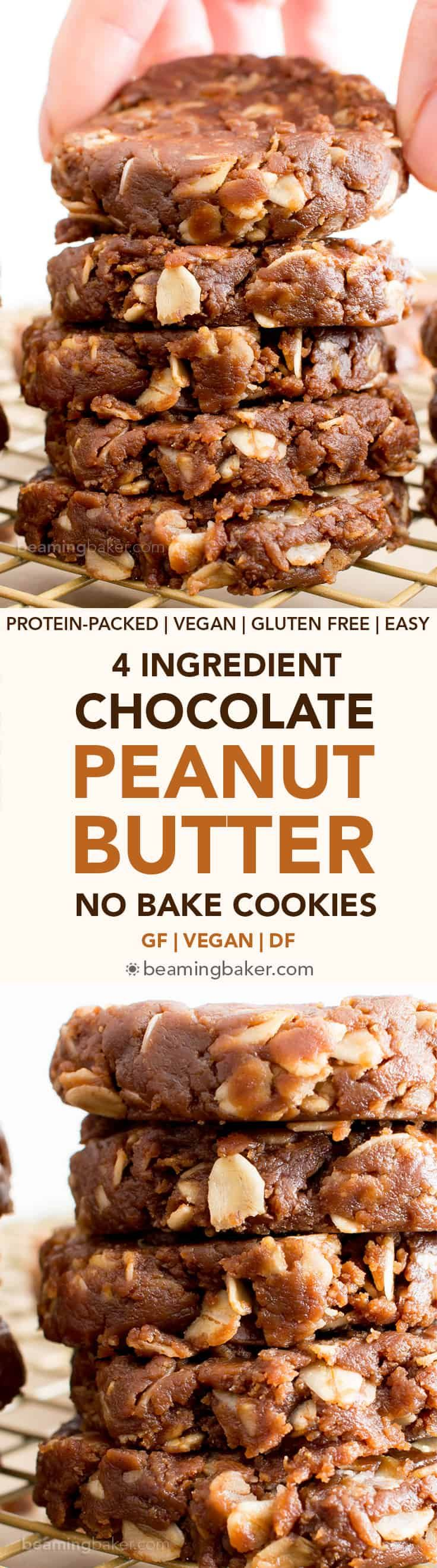 4 Ingredient No Bake Chocolate Peanut Butter #Healthy #ProteinPacked Oatmeal Cookies (V, GF, DF): an easy recipe for perfectly chewy no bake peanut butter cookies bursting with chocolate flavor. #Vegan #GlutenFree #DairyFree #Chocolate #Cookies | Recipe on BeamingBaker.com