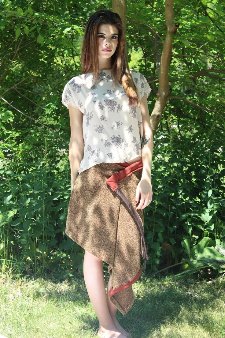 Designs by: J.E.S. clothing Floral chiffon throw & go blouse Brown tweed wrap skirt Available at: https://www.etsy.com/shop/JESclothes?ref=hdr_shop_menu