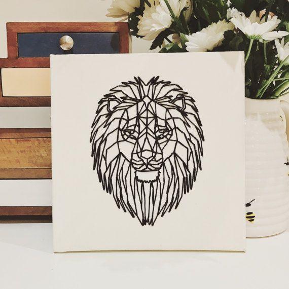 Geometrische Lion koper zwarte string kunst dierlijke geborduurde canvas kunst home decor