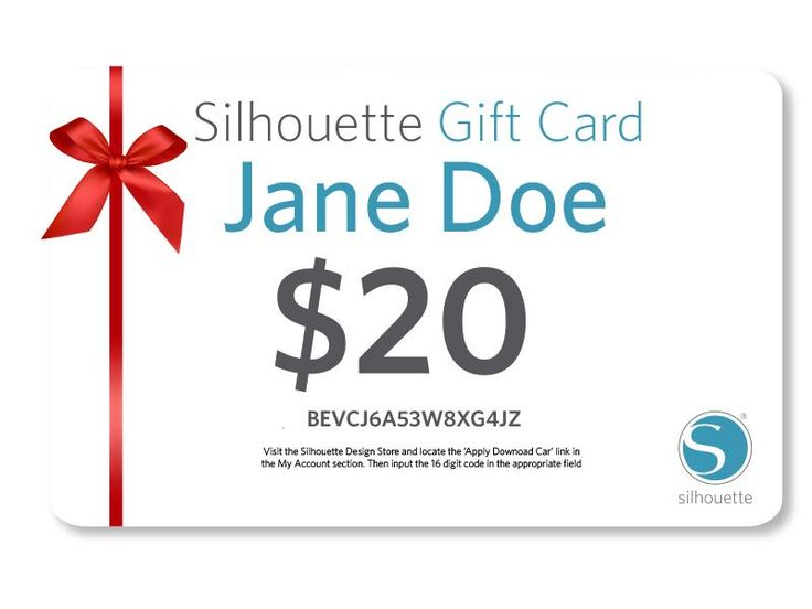 Download Cards or Siilhouetteamerica.com Electronic Gift Card- The first is a physical card can be used to purchase digital designs from the Silhouette Online Store for $10 or $25. The second does the same thing but is printed at home and can be in any amount - no shipping costs included in the online order.