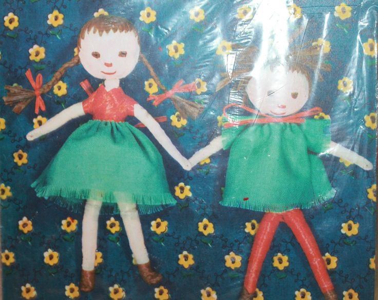 Bast-Puppen Raffia Dolls 18561 Ravensburger Spiele Paper Figures Made in Germany