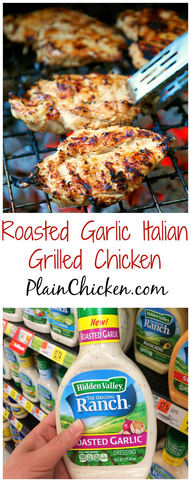 Roasted Garlic Italian Grilled Chicken - only 3 ingredients (including the chicken) - super simple marinade that packs a ton of great flavor! Quick, easy and delicious - my three favorite things!