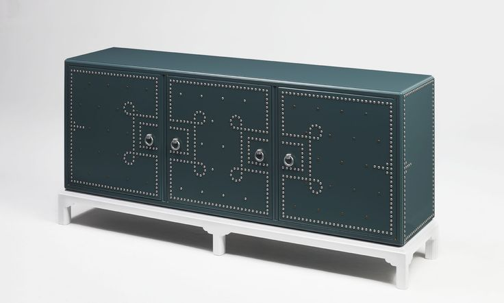 Benebetta Sideboard | | Green lacquered wood, brushed studs, antique brass studs and cast aluminum handles. Drawers upholstered in velvet