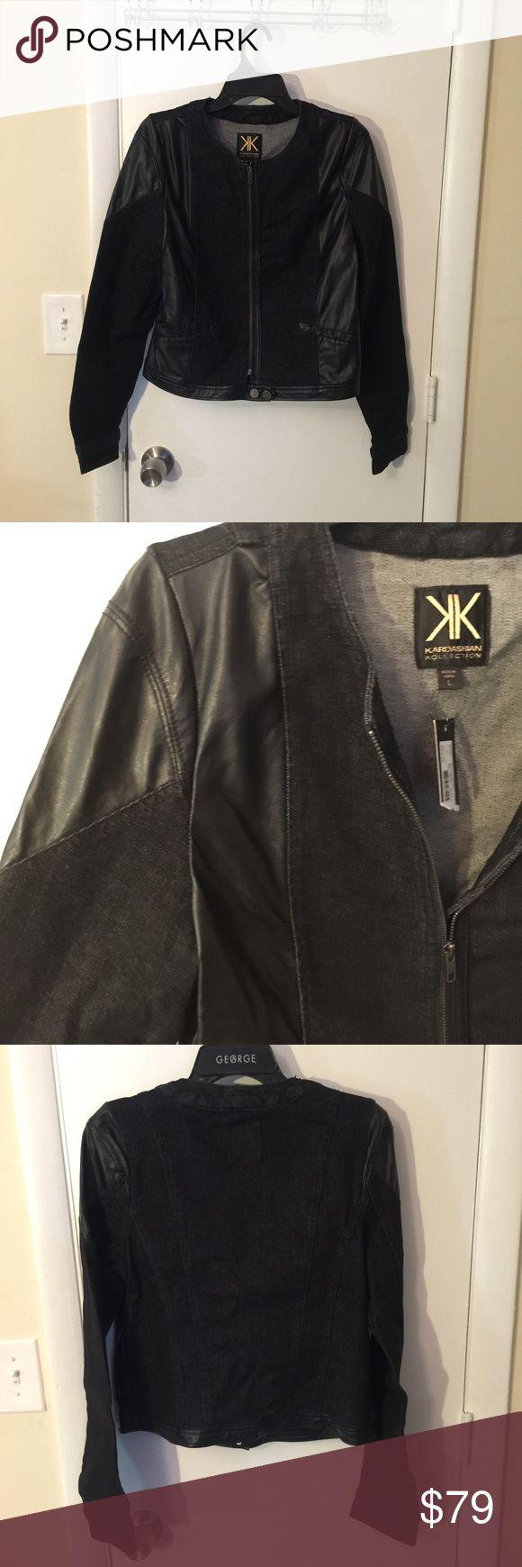 Kardashian Kollection Moto jacket Black denim & vegan leather Moto jacket from kardashian Kollection. Size xl. New with tags. Kardashian Kollection Jackets & Coats Utility Jackets