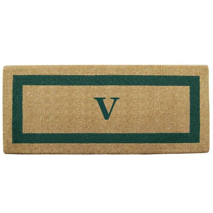 Single Picture Frame Green 24 in. x 57 in. Heavy Duty Coir Monogrammed V Door Mat, Green/Brush