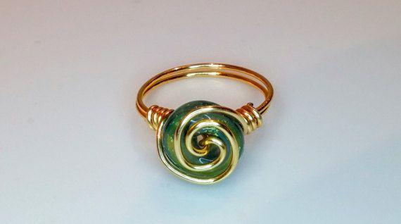 Alambre envuelto anillo anillo hecho a mano anillos de la