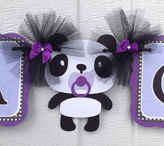 Panda Baby Shower Banner In Lavender And Black By TheBannerBug,