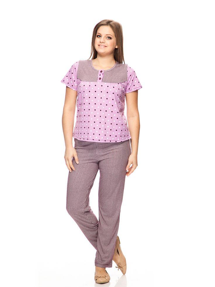 Розовая пижама в клетку
