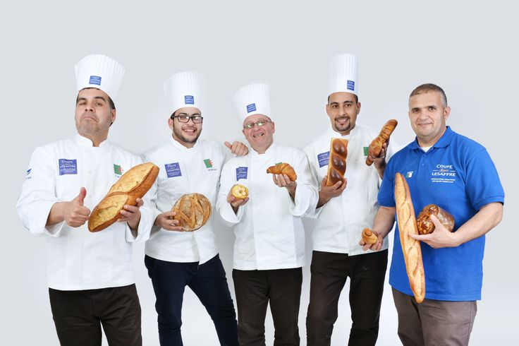 Algerian team and coach (from left to right) Toufik Benouaret - Artistic Piece candidate Sid Ahmed Meknassi - Young Bakery Hopeful candidate Abdelkader Goudjil - Viennese pastries candidate Saad Boumakhlouf - Breads candidate Mohand Ameziane Meziani - Coach #BakeryLesaffreCup #Africa
