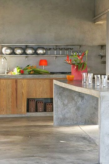 Like this combo too  Concrete counters.  Love it with the natural wood cabinets below.