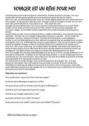 Cette fiche est composée d'un texte pour la compréhension écrite avec des questions. Il y aussi une carte de l'Europe pour écrire les pays que les élèves connaissent et une discussion basée sur des photos sur différents types de voyages. Fonctionne surtout avec les adultes. - Fiches FLE