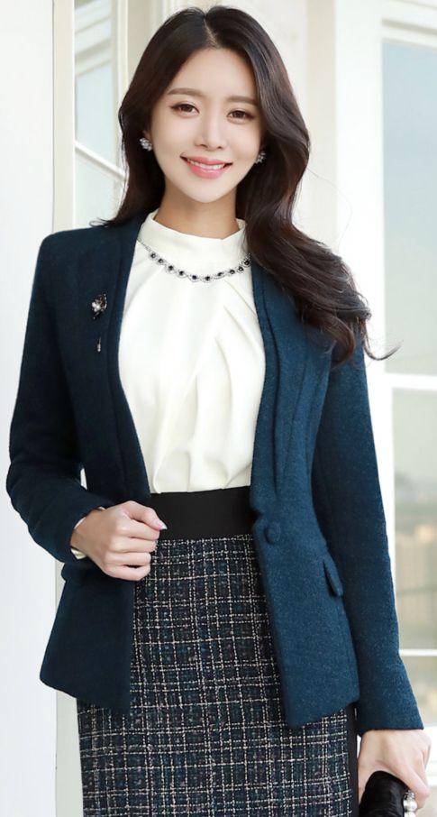 StyleOnme_Wool Blend Single Button Collarless Jacket #slimfit #tailored #jacket #officelook #koreanfashion #kstyle #kfashion #seoul #falltrend