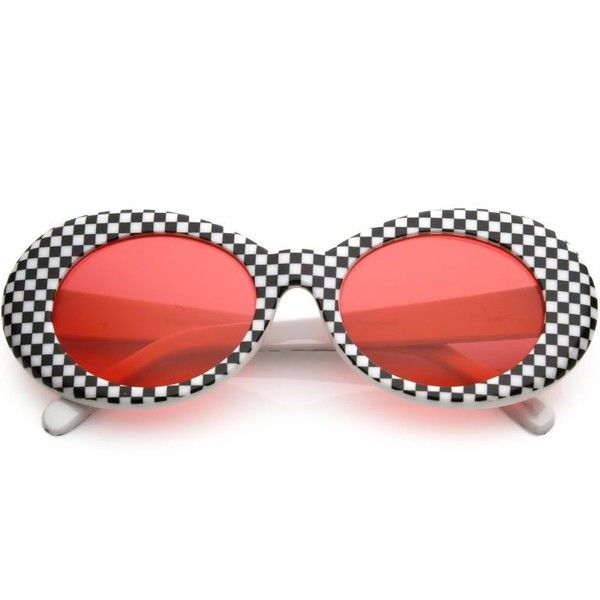 1a22b65e757f0 Retro 1990 s Rad Clout Goggle Checkered Colored Lens Oval Sunglasses... ❤  liked on Polyvore featuring accessories