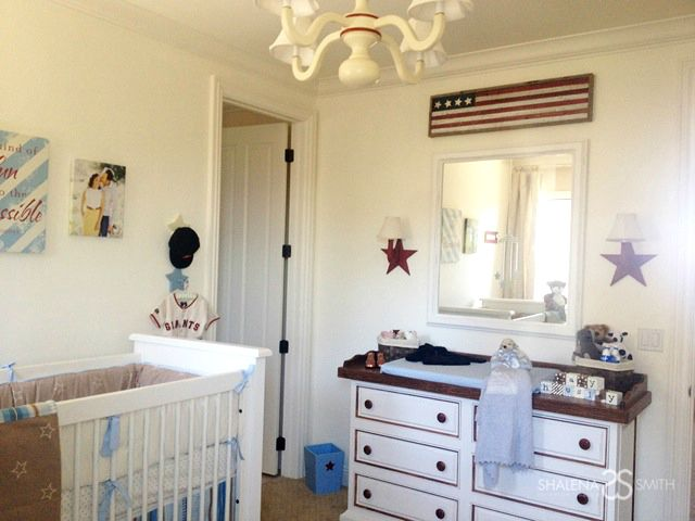 Americana accents in this traditional nurseryAmerican Flags, Boys Nurseries, Decorbabi Nurseries, Americana Baseball, Tamera Mowry Housley, Americana Nurseries, Mowryhousley Nurseries, Shalena Smith, Baby Nurseries