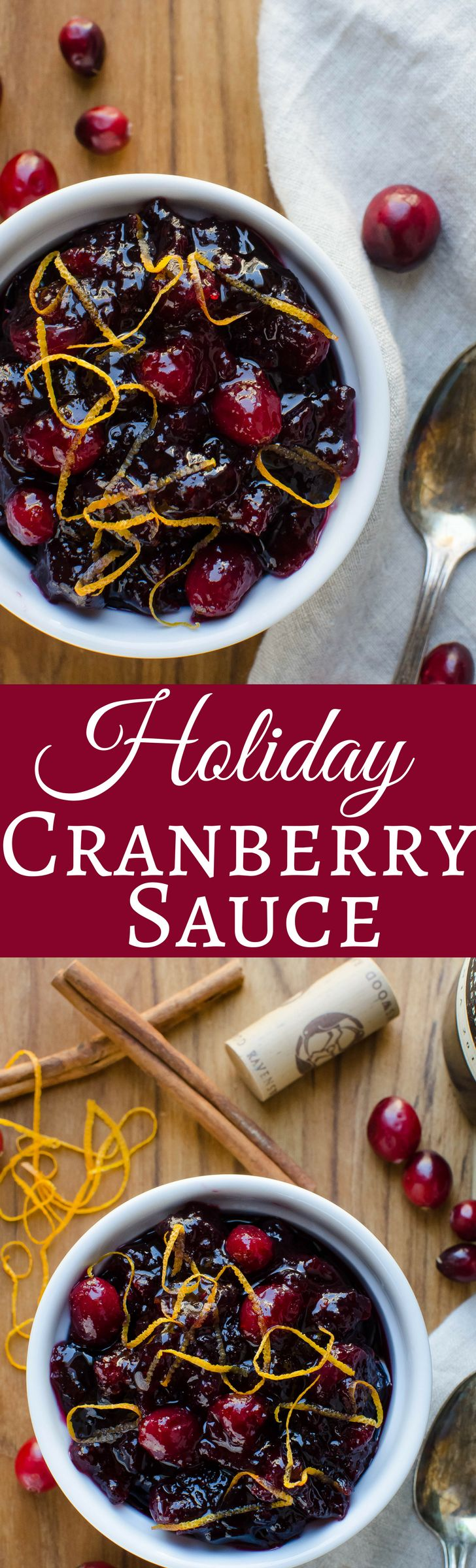 A crazy good Cranberry Sauce with cinnamon, cloves, allspice and WINE!  Ah-May-Zing!