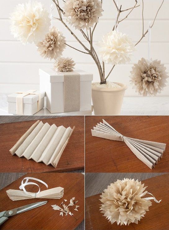 tissue paper poms tutorials