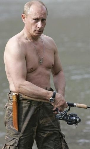 just putin fishing shirtless.... not bad Putin, not bad: