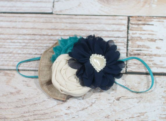 Teal the Cows Come Home - headband in teal, navy blue, and tans by SoTweetDesigns, $11.00