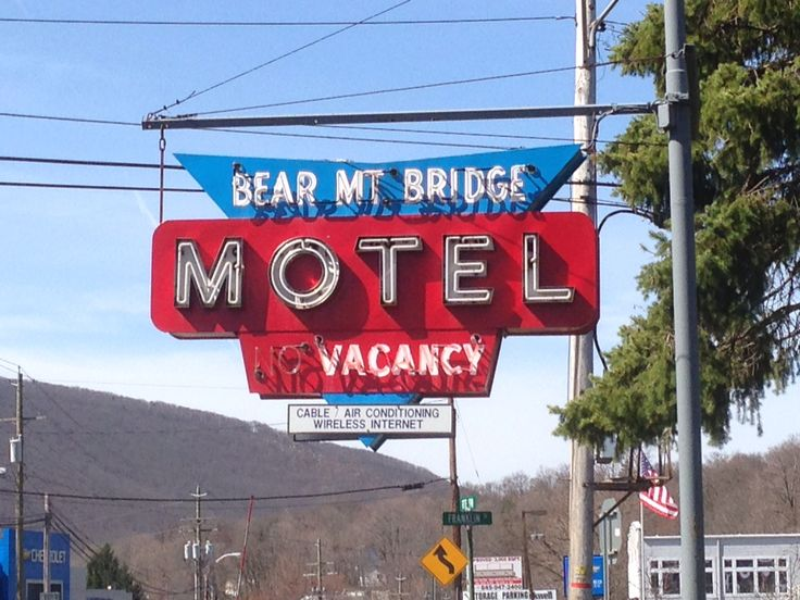 Bear Mountain Motel with Bear Mountain in the background.  Beautiful day.