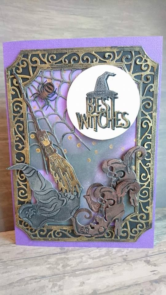 Here is a card that I made with the fabulous Witchy Bits dies from Tonic Studios Halloween Rococo range, they are such fun! All of t...