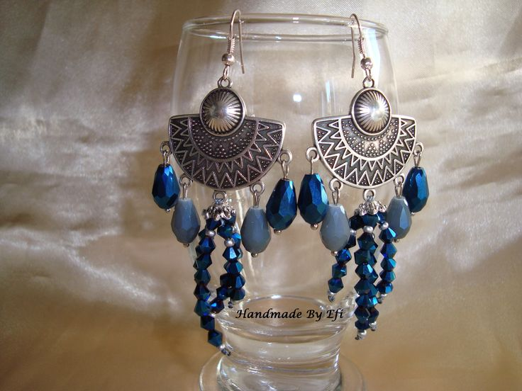 #Handmade_Creations_By_Efi #Handmade_By_Efi #Earrings #New #Crystals #blue #grey