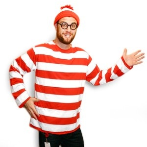 Where's Waldo Costume - Talk about a classic! We can remember searching for hours for this mysterious stripped _shirt geek! Now, everyone's favorite traveler has finally been found! Complete with his signature hat, glasses and famed red and white striped shirt. When you put on this iconic costume everyone will be wondering where you are!Red And White, Halloween Costumes, Favorite Travel, Waldo, Shirts, Mysteries Strips, Icons Costumes, Fame Red, Costumes 2999