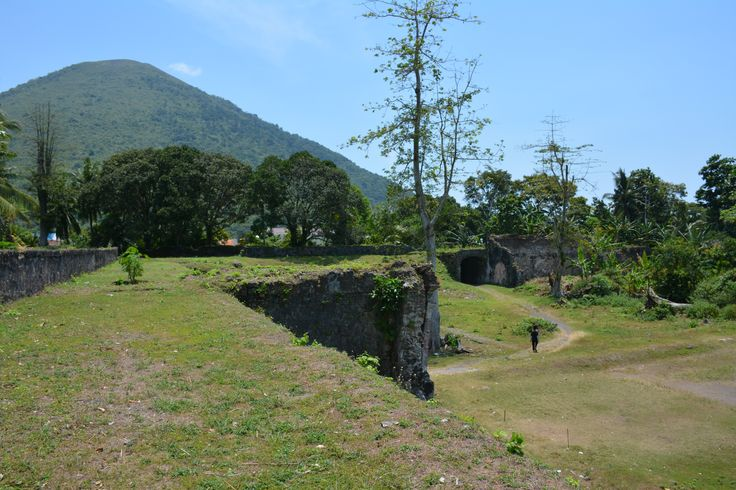 The grassed remains of the bastion walls at Fort Nassau, Banda Island