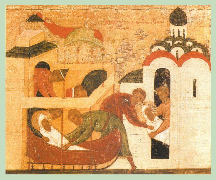 Начало XVI в. Владимир, Борис и Глеб с житием Бориса и Глеба. Клеймо. Тайное погребение Владимира