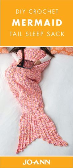 Get cozy in this DIY Crochet Mermaid Tail Sleep Sack! Great for snuggling, this craft is the perfect balance of fun and warm.