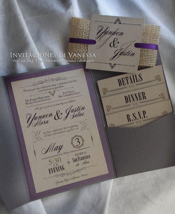 Rustic Wedding invitation pocket fold with recycled cardstock and yute enclosure. Colors gray and purple invitacionesdivanessa@yahoo.com