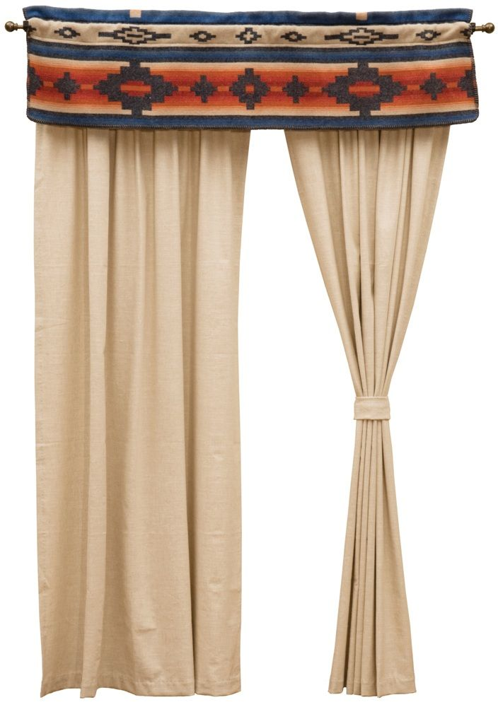 The window dressing made to match the Red Rock Canyon bed ensemble set includes a window valance made with the Red Rock Canyon fabric and a pair of natural linen rod pocket drapery panels with matching tiebacks to give a clean crisp look to the windows of the home.  Works well for any Southwestern themed room.  *American made to order by Wooded River. wooded river authorized retailer
