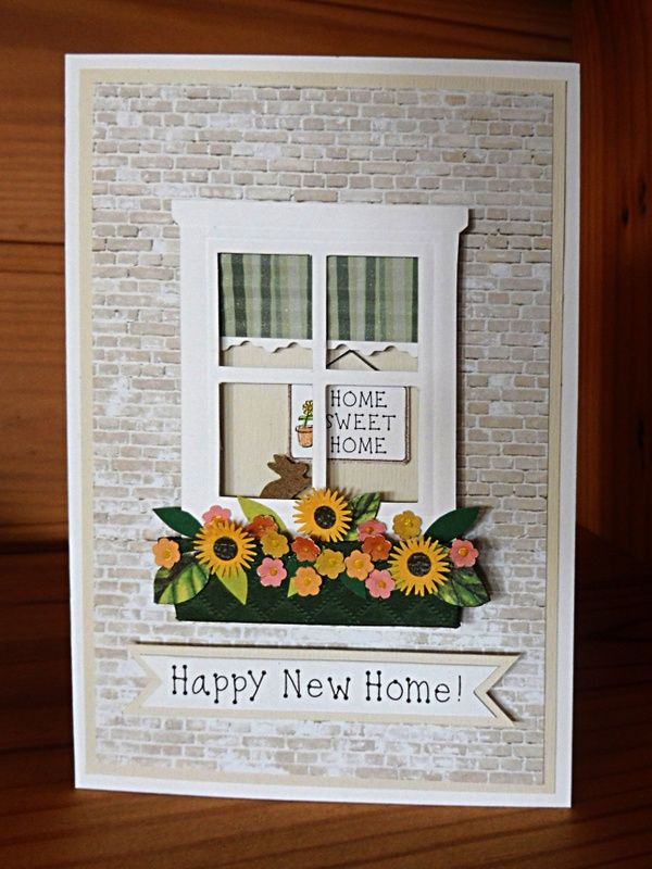Handmade window frame housewarming new home card I made for my daughter flowers and leaves are punched from paper punches.